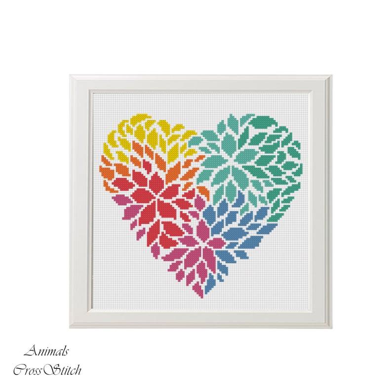 Flower heart cross stitch pattern  Love Cross Stitch Pattern image 0