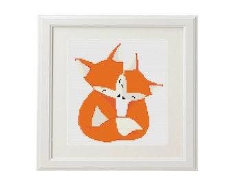 Fox cross stitch love, modern cross stitch pattern, baby decor cross stitch, instant download pattern, PDF, DIY, embroidery fox