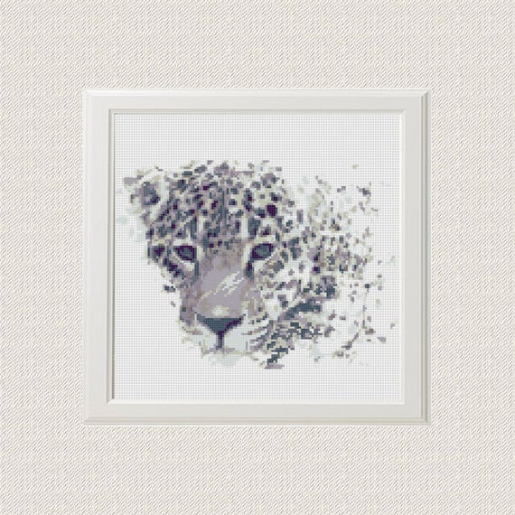 Punto de cruz Patrón Jaguar Acuarela Animal Moderno Leopardo | Etsy