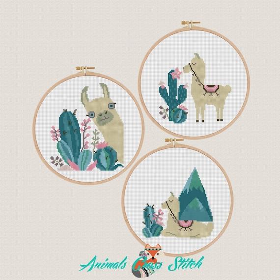 patrón punto de cruz llama Decoración cuarto niños Cactus de | Etsy