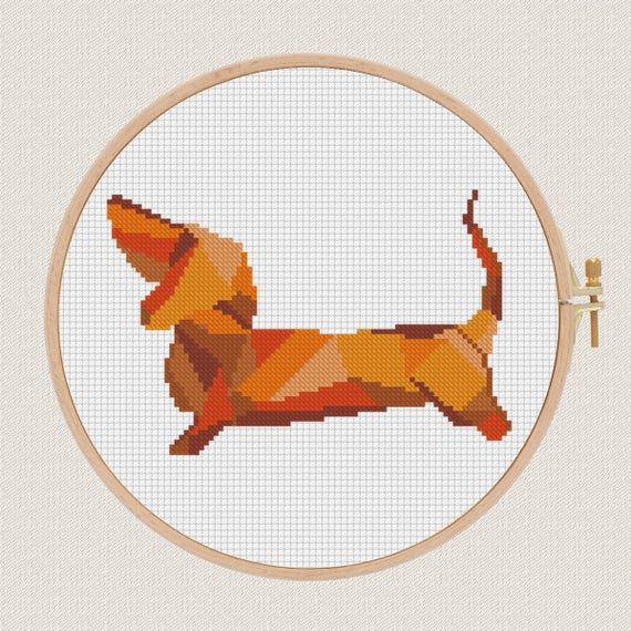 Perro geométrico Punto de cruz patrón moderno | Etsy
