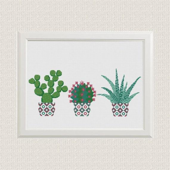 Cactus en punto de cruz Patrón PDF Punto de cruz moderno Punto | Etsy