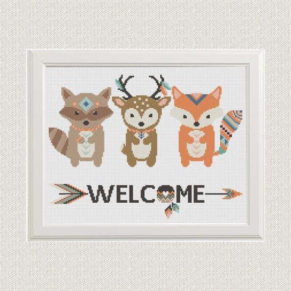 animal zorro venado mapache moderno punto de cruz patrón | Etsy
