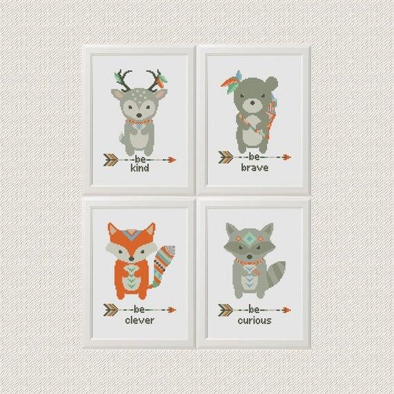 Animales Cruzar Puntada patrón zorro venado oso mapache | Etsy