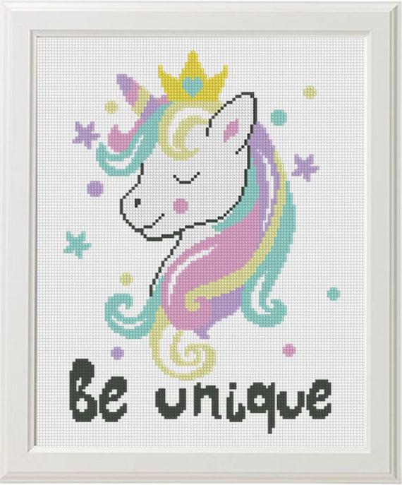 Unicornio Punto De Cruz Patrón Imprimible Descargar Pdf Etsy