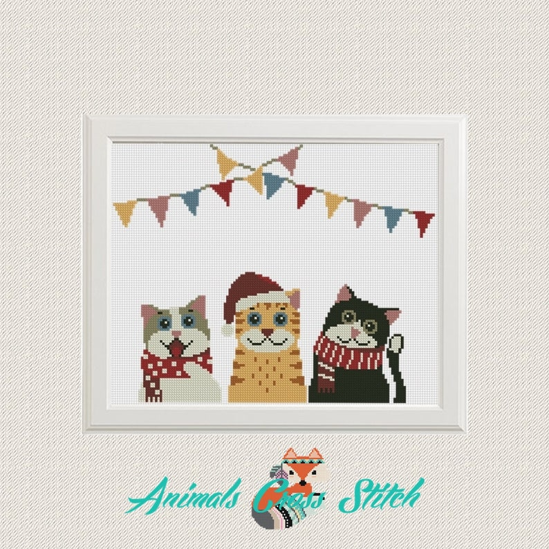 Merry Christmas Animals.Cats Cross Stitch Patterns Pdf Christmas Animals Pattern Merry Christmas Modern Cross Stitch Instant Download