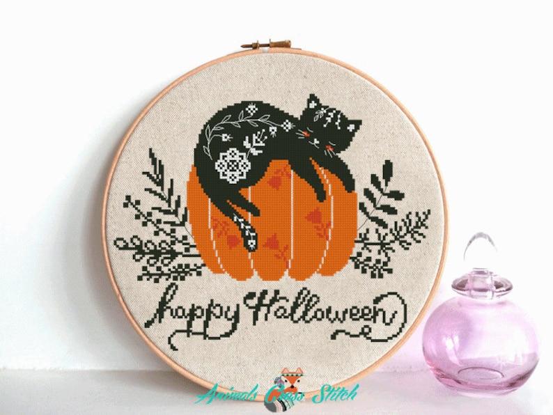 Cat cross stitch pattern Pumpkin cross stitch Happy Halloween image 0