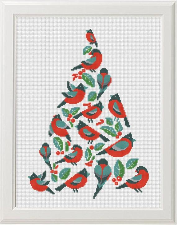 Feliz Navidad árbol patrón punto cruz Pájaro geométrico rojo   Etsy