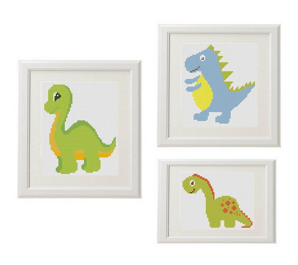Dinosaur cross stitch pattern baby Set of 3 baby dino