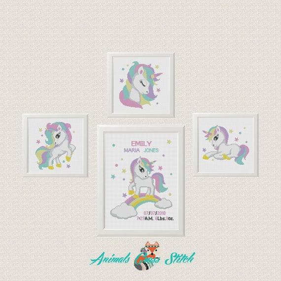 El anuncio bebé del patrón punto de cruz bebé Unicornio Flores | Etsy