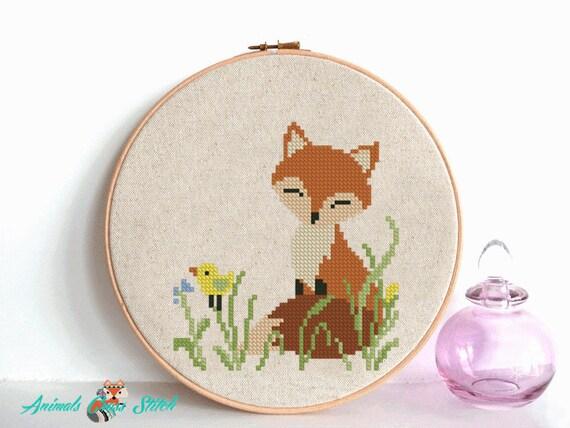 fox cross stitch pattern pdf baby Nursery decor flowers cross stitch Woodland Animals unique baby gift needlecraft