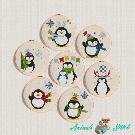 Merry Christmas Animals.Penguin Cross Stitch Patterns Pdf Christmas Animals Set Of 7 Pattern Merry Christmas Modern Cross Stitch Instant Download