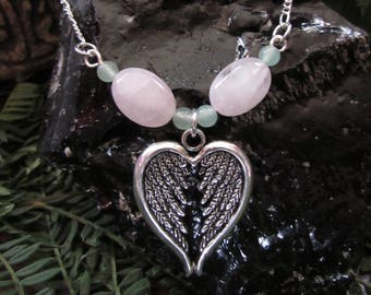 Blossoming Branch in Tibetan Silver with Rose Quartz and Aventurine Ostara Jewelry from Hopkins /& The Witch Spring Accessories