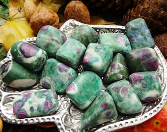 Ruby Fuchsite Tumbled Stone - 2 Sizes - Weapon Against the Blues, Tune the Heart and Remove Blockages, Activate the Third Eye.