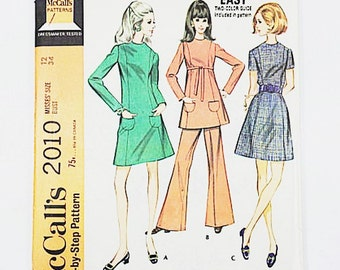 60s Mod Dress Pattern | McCalls 2010 Misses Dress or Top & Pants Pattern | 60s Sewing Pattern  | Factory Folded