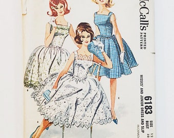 60s Dress Pattern | Simplicity 6183 Misses Party Dress Pattern | 60s Sewing Pattern