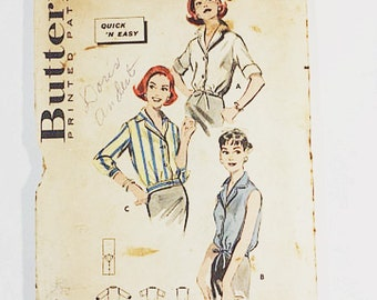 50s Blouse Pattern | Butterick 8583 Misses Shirt Pattern 1958 | 50s Sewing Pattern