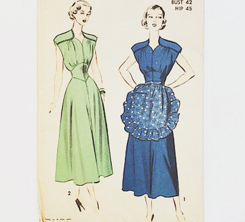 40s Plus Size Dress Pattern 40s Sewing Pattern Advance 5082 Women/'s Dress Pattern
