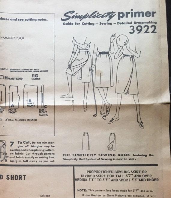 Patrón de falda bolera simplicidad 3922 años 50 dividido | Etsy