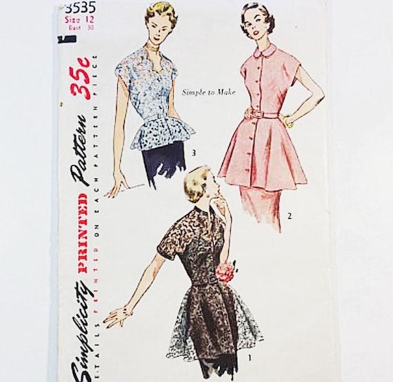 años 50 peplum blusa patrón Patrón de blusa falta sencillez | Etsy