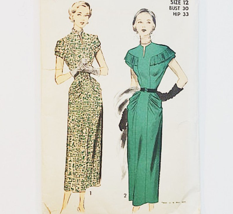 40s Evening Dress Pattern  Advance 5175 Misses Dress Pattern image 0