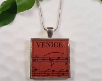 Vintage Venice Sheet Music Resin Pendant