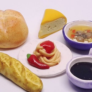 roomboxis and home decorating. Polymer clay dinner food big set for plays with dolls and doll house decoration
