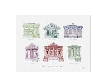 Homes of New Orleans - Art Print, Wall Art, Home Decor