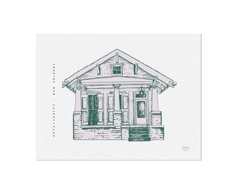Arts + Crafts Cottage - Homes of New Orleans - Art Print, Wall Art, Home Decor