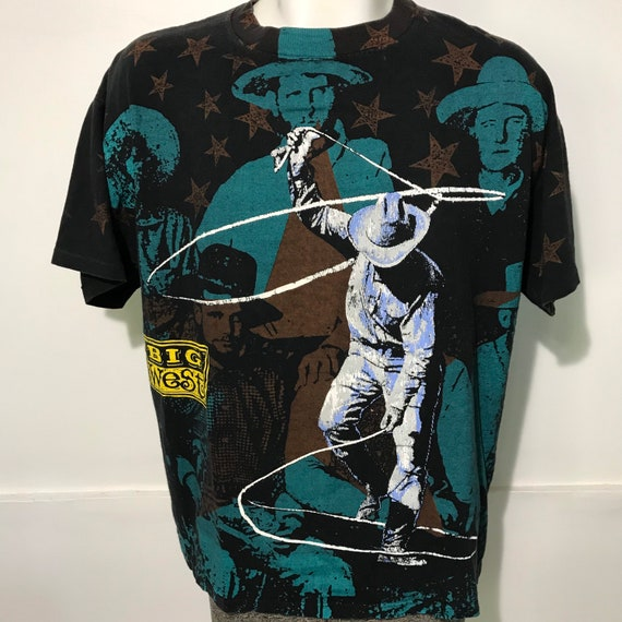 Vintage 1992 All Over Print Big West Cowboy Tee by