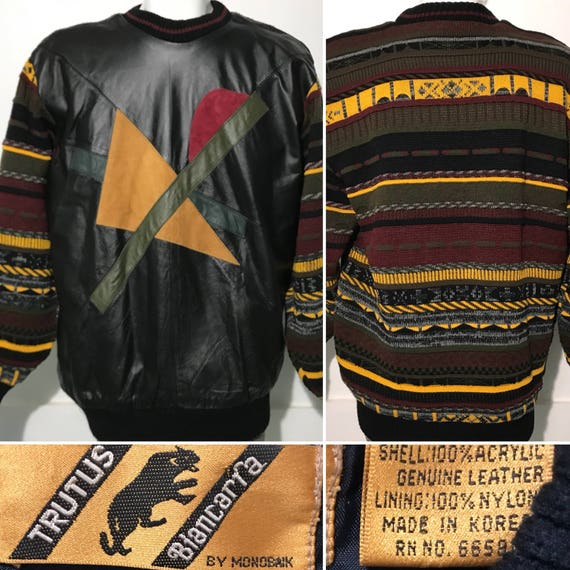 Vintage Real Leather Coogi Style Sweater by Trutus XL s38Dt