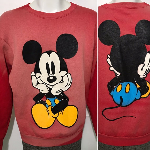 Vintage Faded Mickey Crewneck Sweatshirt L