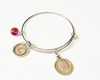 50th Birthday Gift 1969 US Dime Birthstone Initial Bracelet