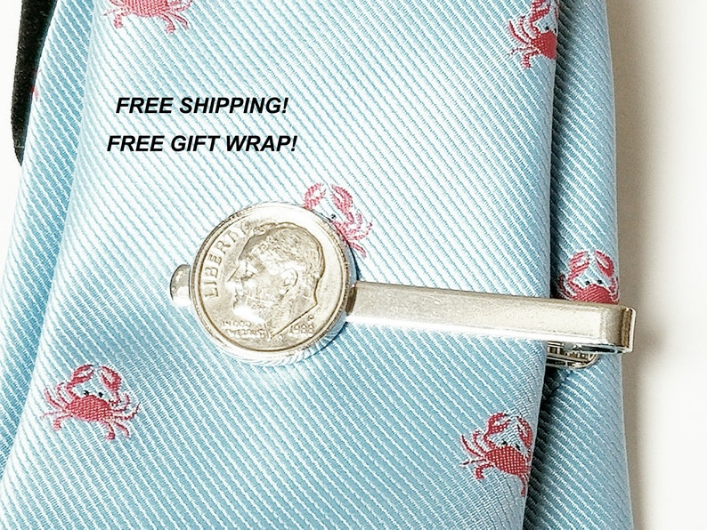 70th Birthday Gift Anniversary Gift 1949 1950 1948 Dime Tie Bar Clasp Tie Tack Gifts For Him Mens Accessories