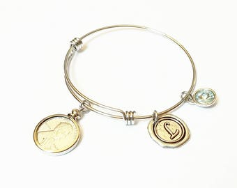 75th Birthday Gift 1943 Penny WWII Bracelet Birthstone Happy Birthday Gift US Penny Bracelet Expandable Bangle initial charm  Coin Jewelry