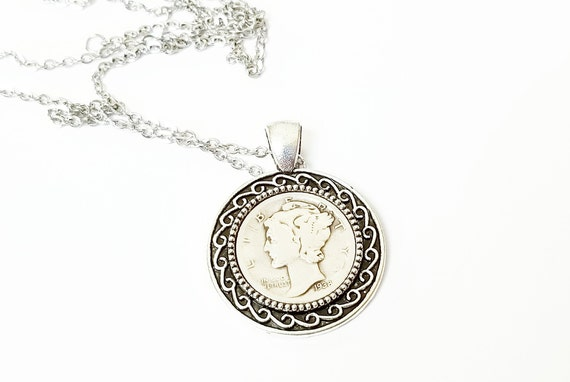 Birthday Commemorative Anniversary Dime Necklace /& Keychain Cabochon Cameo Key to My Heart Wedding 16th 18th 21st 30th 40th 50th 60th 70th