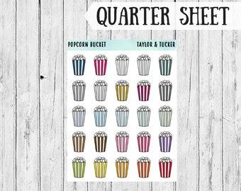 Popcorn Bucket planner stickers | Erin Condren Vertical Planner Stickers