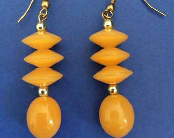 Vintage plastic earrings Dangling Drop  earrings Golden  orange yellow with gold beads Summer geometric Long earrings Gift for her