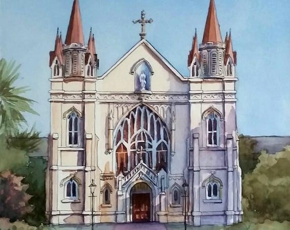 custom church, wedding venue, 8x10 watercolor painting