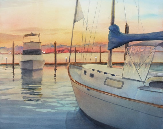 Sailboat marina at sunset, original watercolor