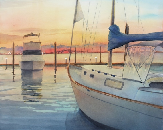Sailboat marina at sunset original landscape painting