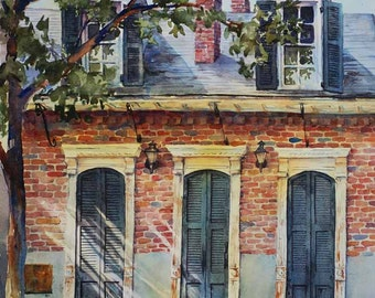 Historic architecture,New Orleans French Quarter Creole cottage, watercolor art print