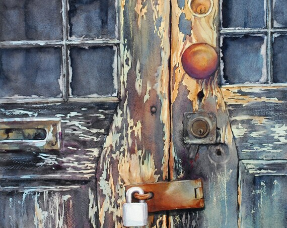 Weathered old wooden door with locks watercolor art print