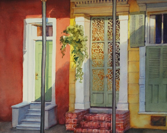 French Quarter New Orleans historic architecture, creole cottage watercolor art print