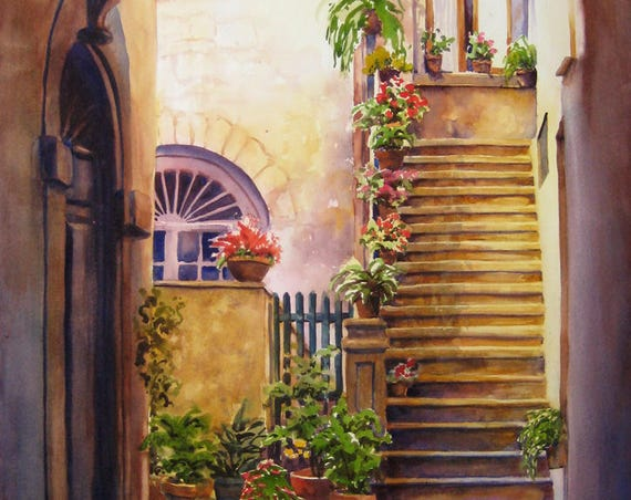 Tuscany architecture, archways, Italian building, watercolor art print