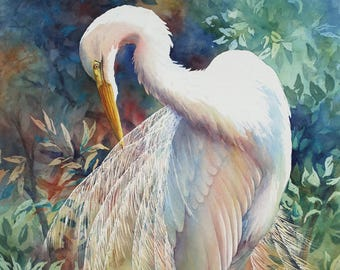 Great Egret, preening egret, Louisiana marsh bird watercolor art print