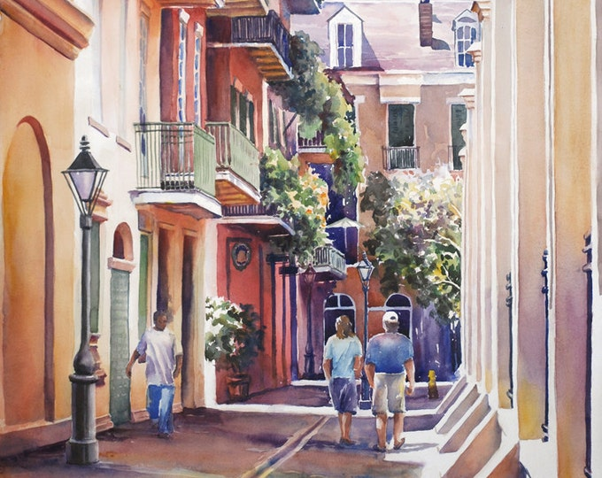 French Quarter New Orleans, Pirates Alley historic architecture  watercolor art print