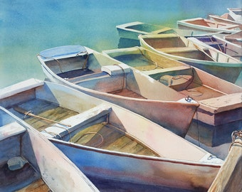 Dinghies, boats, skiffs, marina, nautical print of watercolor painting
