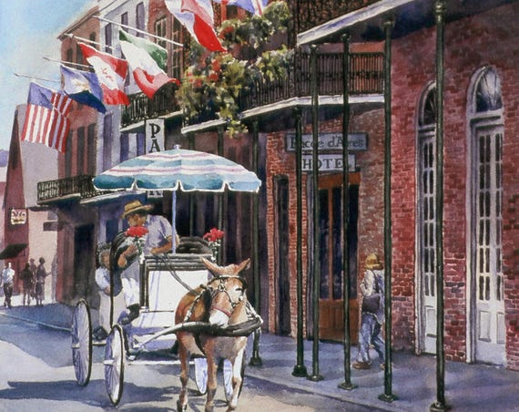 Rue St. Ann, New Orleans French Quarter, carriage ride historic flags watercolor print