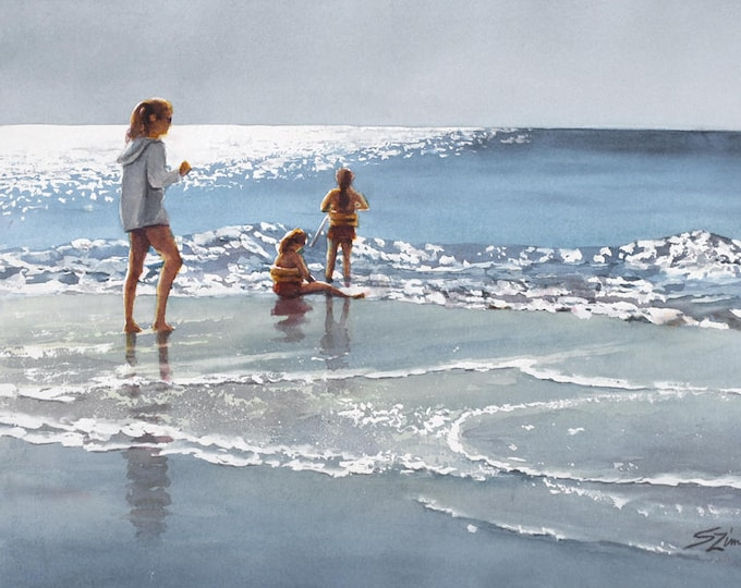 Gulf shore beach, children playing in surf watercolor art print